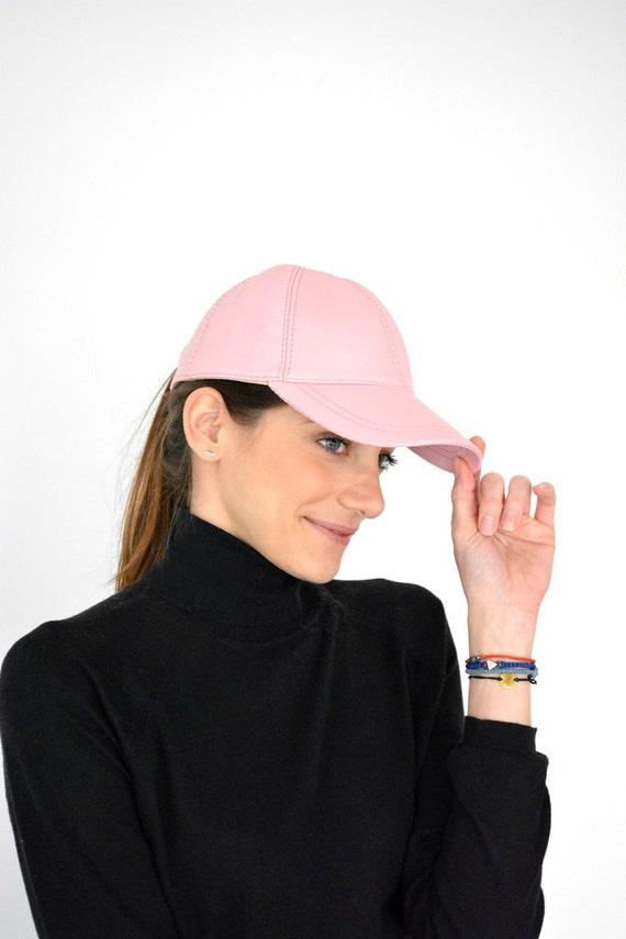 Baseball Cap Leather Baseball Cap Womens Cap Pink Cap  d00ebfe7934