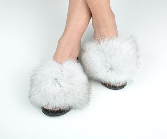 White fur slides for women made with