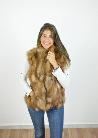 Women Fur Vest made with Brown Fox fur and brown inner lining. Handmade Women Sleeveless fur Jacket, a great gift for her