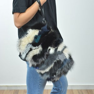 FREE SHIPPING Fur clutch bag for women made of colorful fox fur on the one side and lamb leather on the other in small size A gift for her
