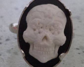 adjustable cameo ring Silver 925 Mexican skull