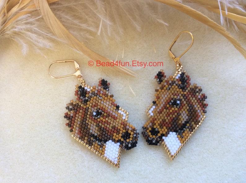 Horse Earrings Cowgirl Rodeo Girl Name: \u201cBrown Horse\u201d Western Style Jewelry Ear Art   Seed Beaded Earrings American Made