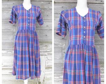 e4b68b1a8d51 Vintage 80s Madras Plaid Dress   1980s Cotton Short Sleeve Midi Dress  Shirt  Waist Dress  size Medium