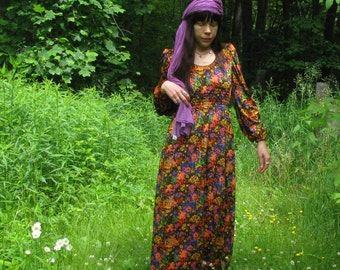 Vintage 70s Floral Goddess Velvet Maxi Dress//1970s Psychedelic Party Gown//Boho Hippie Maxi Dress// Size Small