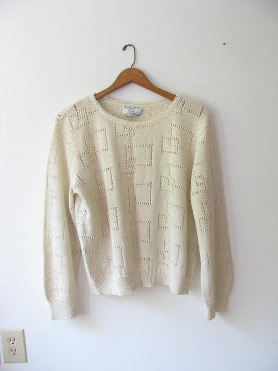 9348ba9b119e Vintage Minimalist Cotton Sweater/ Cream Knit Sweater/ Womens | Etsy