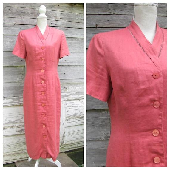 Vintage 90s Linen Maxi Dress/ 1990s Talbots Button
