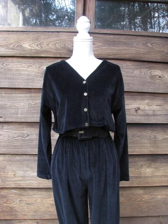 Vintage Velour Jumpsuit/ Lizsport Liz Claiborne Pa
