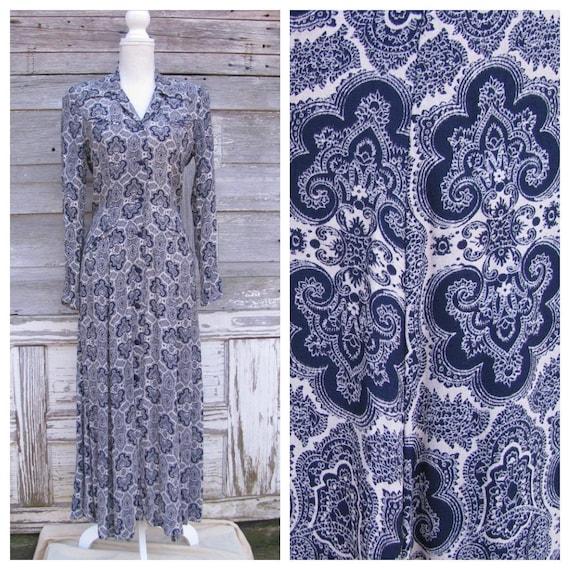 Vintage 90s Ann Tjian Print Dress/1990s Navy Blue