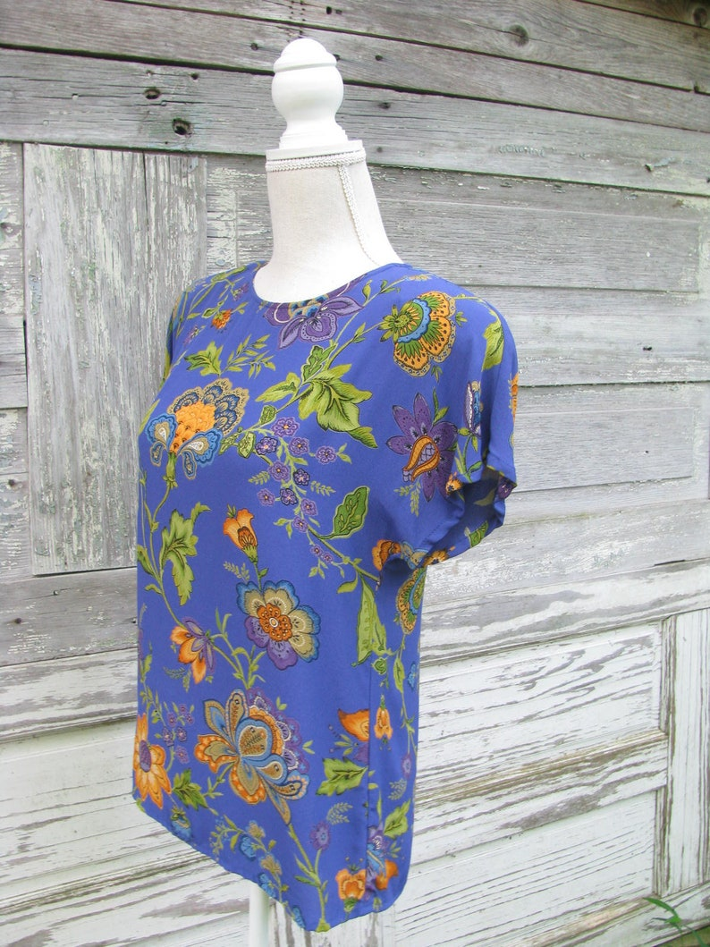 Vintage 80s Floral Print Rayon Blouse1980s Boxy Short Sleeve Blousesize Small Petite
