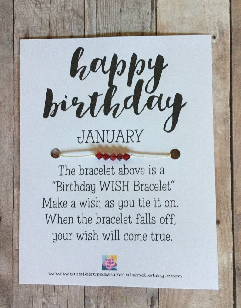 January Birthday Wish Bracelet Card Make A Wish Birthday Etsy