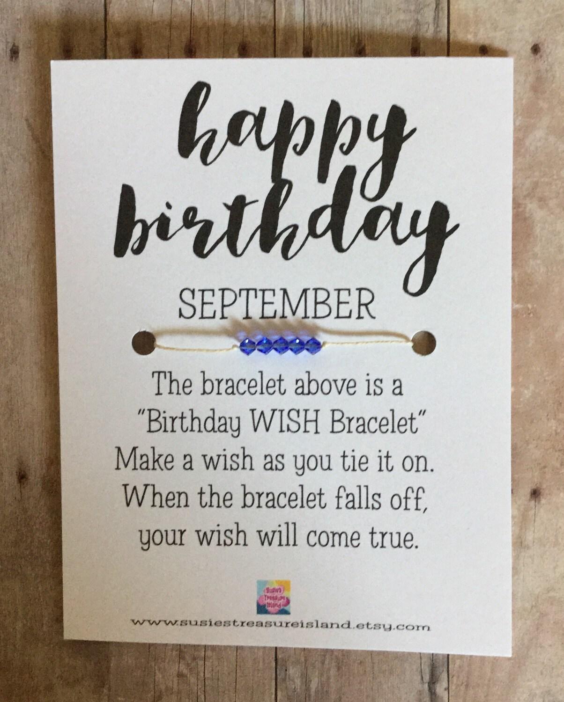bracelet to tie on a message card Happy Birthday wish bracelet