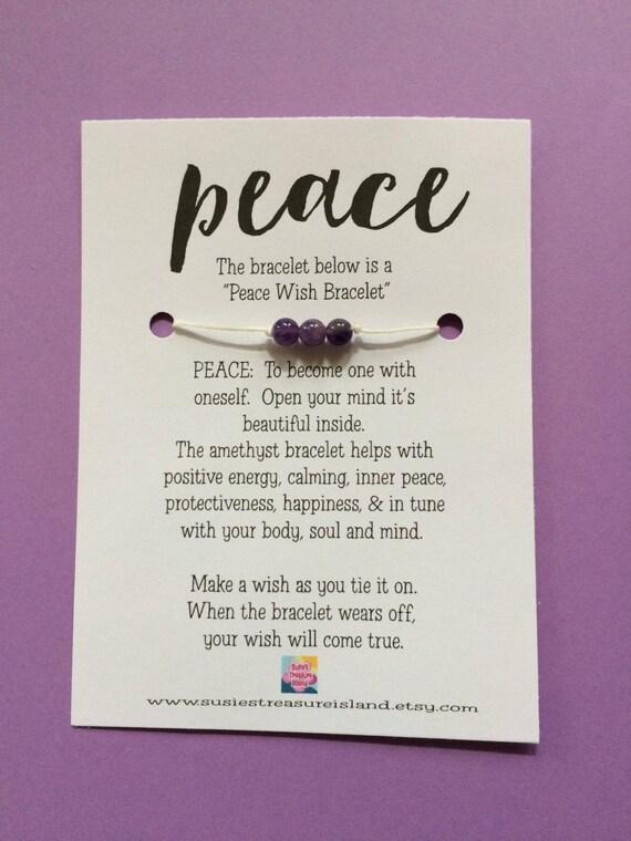 peace wish bracelet card make a wish wishing for peace etsy