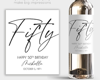 FIFTY - 50th Birthday Wine Label - Personalized Birthday Label - Birthday Gift for Women