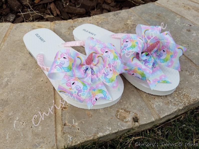 9864a1e73a81 Unicorn Flip Flops Unicorn Shoes Unicorn Sandals Decorated