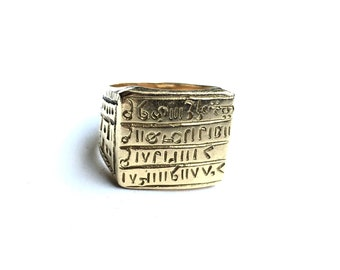 """Noble African Vintage  Signet Ring - Solid 18K Gold - 3/4"""" Square Face - Magic Sequence of Letters, Numbers, Symbols - Size 10 US"""