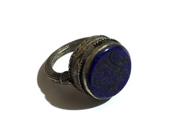 Afghan Silver Ring with awesome Round Lapis Lazuli - Mens & Womens - 9.5 US -