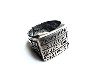 """Signet Vintage Noble North African - Sterling Silver 925 Ring - 3/4"""" Square Face - Antique - Size 10 US"""