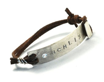 """The Sterling Roman Date Hyped - Mens - Leather Bracelet - 7 3/8"""" Wrist - Brown Suede Connects a 925 Sterling Silver Bar - Swarovski Crystal"""