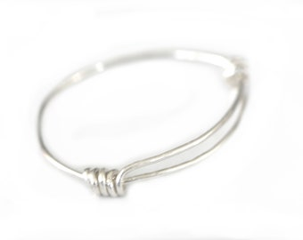 STERLING LOOP BRACELET - Round Silver 925 - Adjustable Size