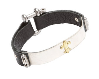"""The Sterling Mars GFD - Mens - Leather Bracelet - 7 3/8"""" Wrist - Cuff - Black Flat Leather with 925 Sterling Silver"""