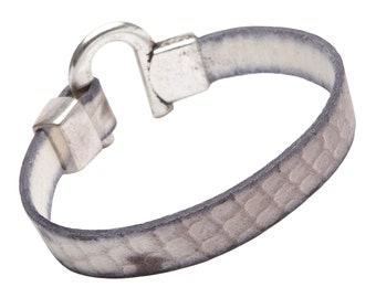 """The HSnake - Mens - Womens  Leather Bracelet - 7.5"""" wrist - Cuff - Natural Leather Red Strap with Antique Silver Clasp"""