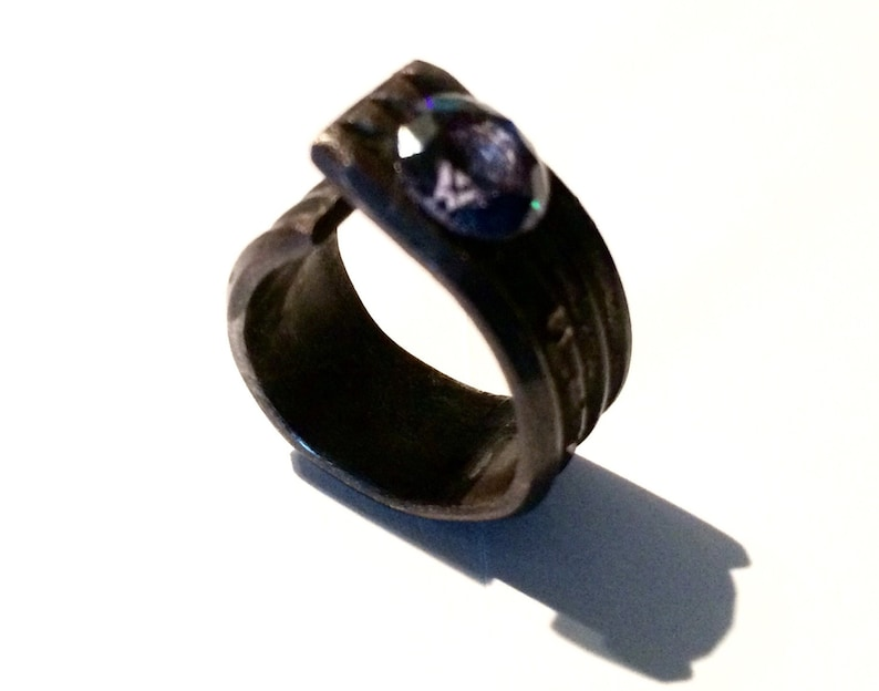 Open Black STERLING Ring for Women Size 7 US and  Antiqued Adjustable Oxidized Striped Silver 925 CLANDESTINE Line
