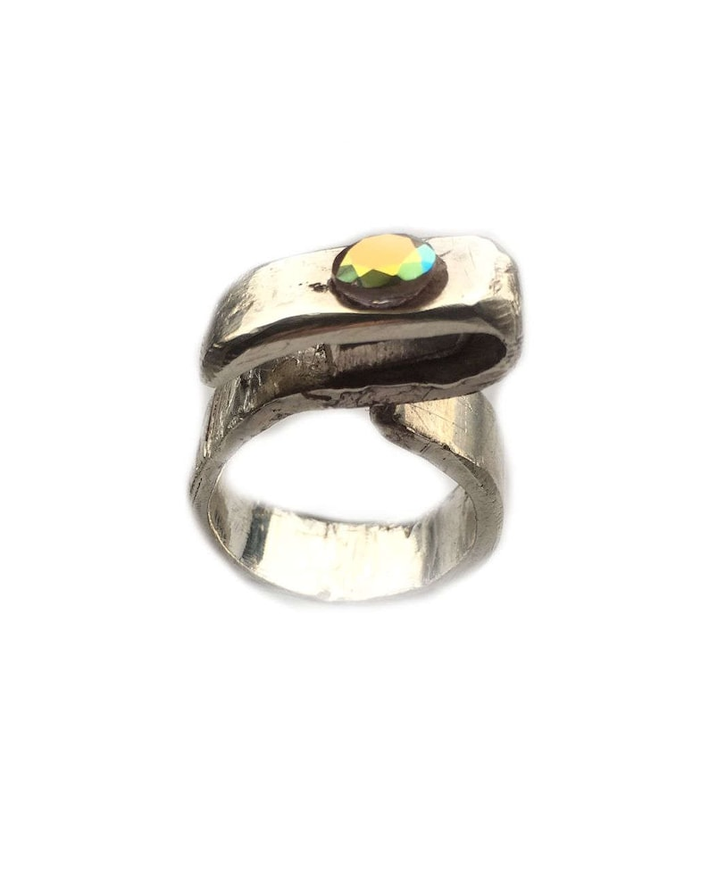 8mm Wide Sculpted For Women Thick Sterling Silver Ring with Huge 7mm Iridescent Quartz 3mm Thick 1st Class CLANDESTINE Size 7 US