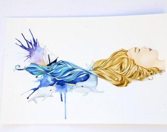 """Sea Dreams 11"""" x 17""""  Watercolor Illustration"""