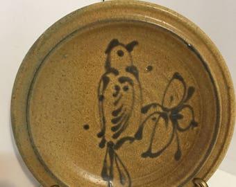 Vintage Stoneware Slipware Bird Plate