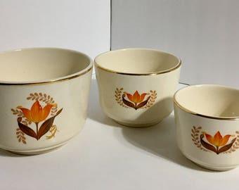Bakerite Modern Tulip Orange Mixing Nesting Bowls