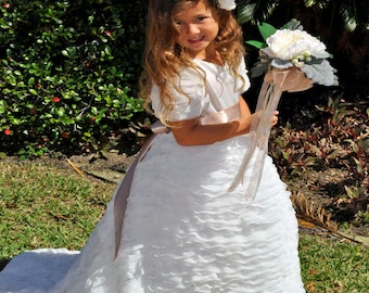 Ivory Champagne Flower Girl Dress with Train