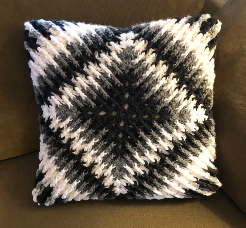 Textured Crochet Black White and Grays Accent Pillow 15x15