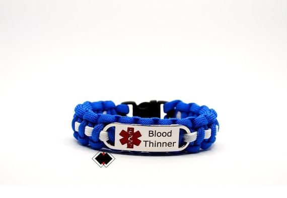 Blood Thinner Medical Alert Paracord Bracelet Stainless Steel Engraved Handmade in USA