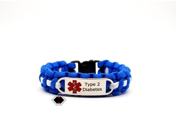 Type 2 Diabetes Medical Alert Paracord Bracelet Stainless Steel Engraved Handmade in USA