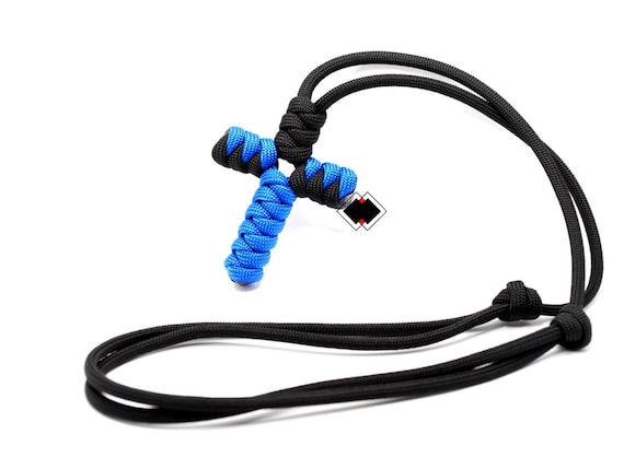 paracord cross necklace  - black and blue  / custom color - handmade in USA