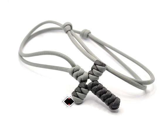 paracord cross necklace  - grays  / custom color - handmade in USA