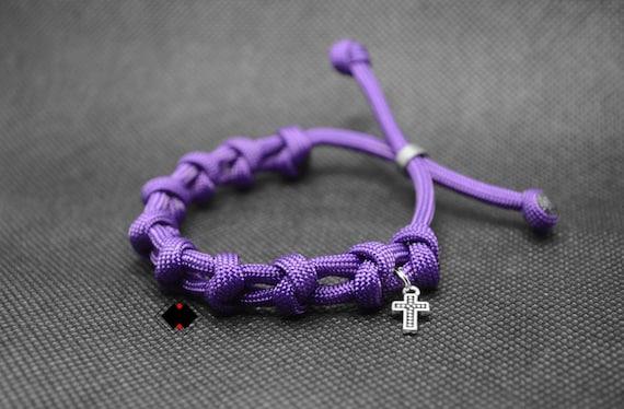 paracord adjustable single decade rosary bracelet - purple / custom color - handmade in USA