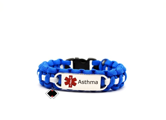 Asthma Medical Alert Paracord Bracelet Stainless Steel Engraved Handmade in USA
