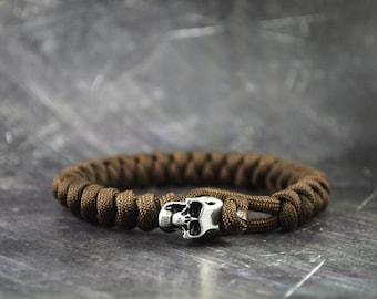 Skull Paracord Bracelet - BROWN