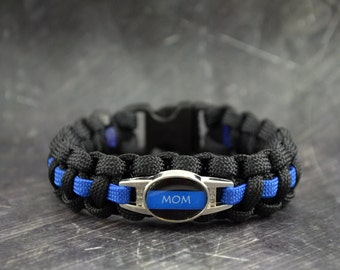 MOM charm - Police thin blue line - 550 paracord survival bracelet - handmade