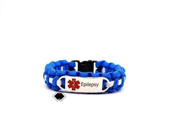 Epilepsy Medical Alert Paracord Bracelet Stainless Steel Engraved Handmade in USA