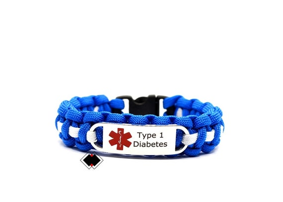 Type 1 Diabetes Medical Alert Paracord Bracelet Stainless Steel Engraved Handmade in USA