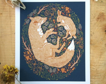 """Fox and Hare Illustration Art Print, Fox and Rabbit Print, Floral Fox Print, Scientific Illustration, Natural History, 8x10"""" Giclee Print"""