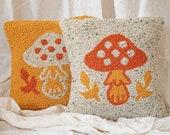 "Mushroom Punch Needle Pillow 14x14"", Mustard Beetle x Hello Happy Handmade"