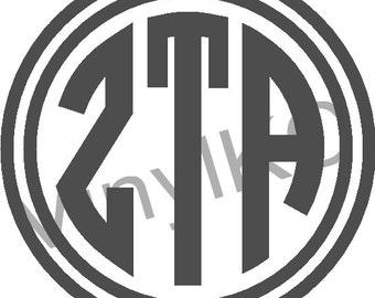 "Zeta Tau Alpha Sticker Greek Monogram Letter 5"" *Buy 2 Get 1 Free*"