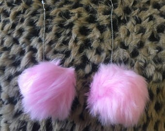 Faux Fur Pom Pom Earrings
