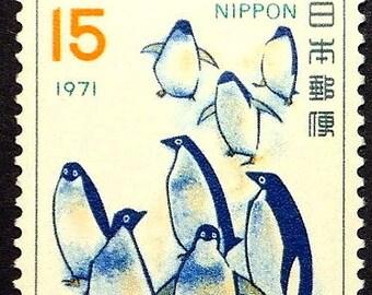 Penguins, Japan 1971 -Handmade Framed Postage Stamp Art 22476AM