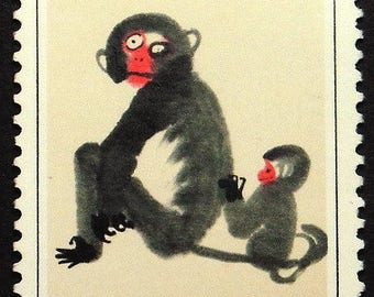 Painting two monkeys, China -Handmade Framed Postage Stamp Art 22325AM