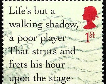 Life's but a walking shadow, a poor player, Macbeth, Shakespeare -Handmade Framed Postage Stamp Art 22434AM