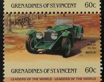 1931 INVICTA 41/2-litre Vintage Car Britain -Handmade Framed Postage Stamp Art 8492